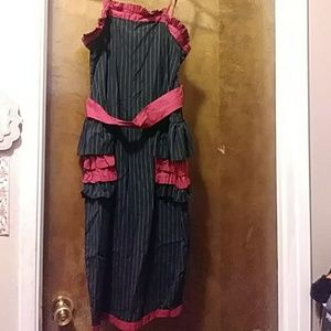 Black and red pinstripe dress